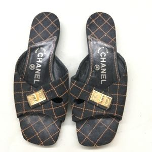 Women's Black Quilted Chanel Slides 36 1/2